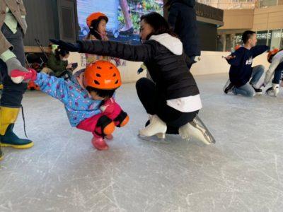 長靴でスケート教室