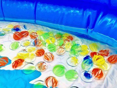 ビニールプールで水慣れ