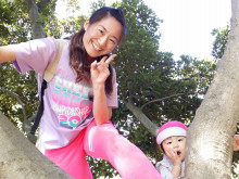綾子先生と木登り