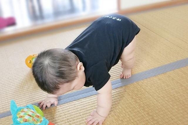 体幹を鍛える赤ちゃん