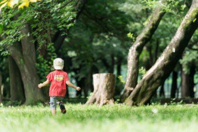 公園で遊んでいる子どもの画像